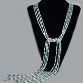 64 Inch Freshwater Pearl Necklace by IPEARL with 4-5mm White Rice Pearls, Crystal & Turquoise