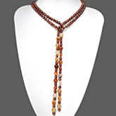 54 Inch Freshwater Pearl Necklace by IPEARL with 6-7mm Red Round Pearls and Agate