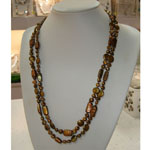 54 Inch Freshwater Pearl Necklace by IPEARL with 6-7mm Brown Baroque Pearls, 9-10mm Brown Coin Pearls, Brown Rectangele Pearls