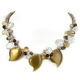 18 Inch Freshwater Pearl Necklace by IPEARL with Round Champagne Pearls, Crystal & Turquoise; Silver Clasp