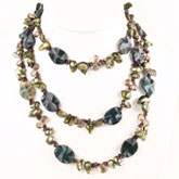48 Inch Freshwater Pearl Necklace by IPEARL with 8-9mm Green Blister Pearls, Agate, Crystal & Garnet