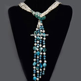64 Inch 4 Strand Freshwater Pearl Necklace by  IPEARL with Baroque White Pearl, Turquoise and Shell