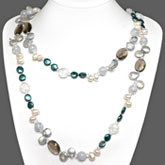 54 Inch Freshwater Pearl Necklace by IPEARL with 10-11mm Multicolor Coin Pearls and Crystal