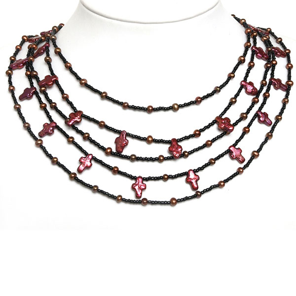 IPEARL 4-Row 18 Inch Charming Necklace with Red Pearl, Rice Brown Pearl, Copper Clasp