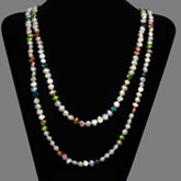 64 Inch Freshwater Pearl Necklace by IPEARL with 7-8mm Multicolor Baroque Pearls