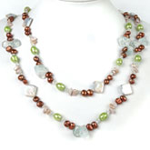 64 Inch Freshwater Pearl Necklace by IPEARL with 7-8mm Red & Green Baroque Pearls, Crystal and Aquamarine