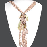 36 Inch 5 Strand Freshwater Pearl Necklace by IPEARL with Pink Pearls, Serpentine & Rose Quartz