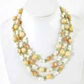 64 Inch Freshwater Pearl Necklace by IPEARL with 7-8mm White Rice Pearls, Jade & Peridot