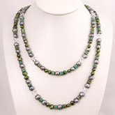 48 Inch Freshwater Pearl Necklace by IPEARL with Green Pearls, Crystal & Turquoise