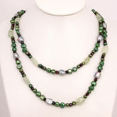 48 Inch Freshwater Pearl Necklace by IPEARL with 7-8mm Green Pearl, Serpentine & Garnet
