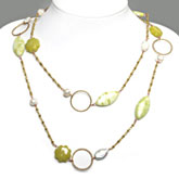 48 Inch Freshwater Pearl Necklace by IPEARL with Round White Pearl, Lemon Jade & Yellow Jade