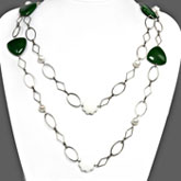 48 Inch Freshwater Pearl Necklace by IPEARL with Round White Pearls, Milky Jade & Enhanced Green Jade