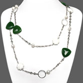 54 Inch Freshwater Pearl Necklace by IPEARL with Round White Pearl and Enhanced Jade