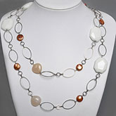 48 Inch Freshwater Pearl Necklace by IPEARL with 11mm Coin Coffee Pearl, White Porcelain & Pink Aventurine