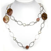 54 Inch Freshwater Pearl Necklace by IPEARL with 10-11mm Coin White Pearl and Cherry Quartz