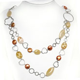 30 Inch Freshwater Pearl Necklace by IPEARL with 10-11mm Coin Coffee Pearl, Aventurine & Jade