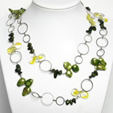 48 Inch Freshwater Pearl Necklace by IPEARL with Green Pearls & Crystal