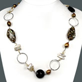 Freshwater Pearl Necklace by IPEARL with Teardrop Yellow Pearl, Shell, Agate & Citrine; Copper Clasp