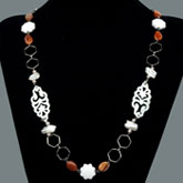 36 Inch Freshwater Pearl Necklace with Round Pink Pearl, White Porcelain, Shell & Fire Crackle Agate