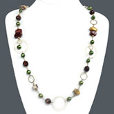30 Inch Freshwater Pearl Necklace by IPEARL with Round Green Pearl, Tiger Eye & Rainbow Stone; Silver Clasp