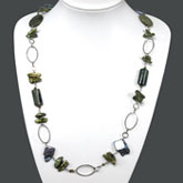30 Inch Freshwater Pearl Necklace with Keishi Green Pearl and Rhyolite; Copper Clasp