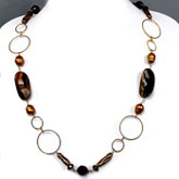 Freshwater Pearl Necklace from IPEARL with 11-12mm Rice Yellow Pearl, Tiger Eye,  Red Tiger Stone &  Crystal; Copper Clasp