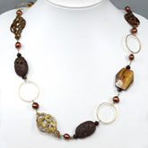 Freshwater Pearl Necklace by IPEARL with 9-10mm Baroque Brown Pearl, Lava, Shell & Garnet