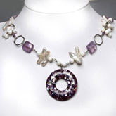 Freshwater Pearl Necklace by IPEARL with Keishi White Pearl, Shell & Crystal; Copper Clasp