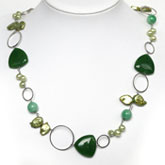 Freshwater Pearl Necklace by IPEARL with Green Baroque Pearl and Jade; Copper Clasp
