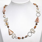 Freshwater Pearl Necklace by IPEARL with Round Brown Pearl and Agate; Copper Clasp