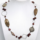 Freshwater Pearl Necklace by IPEARL with 7-8mm Red Pearl, Picture Jasper & Sunstone; Copper Clasp