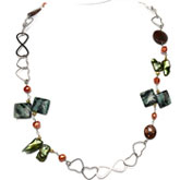 IPEARL 1-Row 30 Inch Fashion Necklace with Round Red Pearl and Rain Flower Stone, Copper Clasp