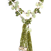 64 Inch Lariat Style Green Freshwater Pearl Necklace by IPEARL with Teardrop White Pearl, Serpentine & Garnet