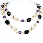48 Inch Freshwater Pearl Necklace by IPEARL with White Biwa Pearls, Agate & Crystal