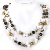 54 Inch Freshwater Pearl Necklace by IPEARL with 8-9mm Brown Baroque Pearls, Crystal & Jade; Pearl Clasp