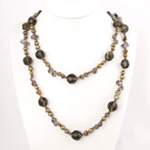54 Inch Freshwater Pearl Necklace by IPEARL with 7-8mm Brown Baroque Pearls & Crystal