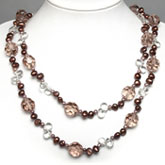 54 Inch Freshwater Pearl Necklace by IPEARL with 7-8mm Brown Baroque Pearls,  Clear & Smoky Crystal