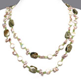 47 Inch Freshwater Pearl Necklace by IPEARL with 10-11mm Pink Coin Pearls, Agate & Peridot