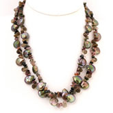 18 Inch Double Strand Freshwater Pearl Necklace with Green Coin Pearls, Tourmaline & Crystal;  Silver Clasp