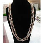 64 Inch Pink Freshwater Pearl Necklace by IPEARL with 8-9mm Pink Baroque Pearls