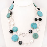 48 Inch Freshwater Pearl Necklace by IPEARL with 9-11mm White Coin Pearls, Agate & Turquoise