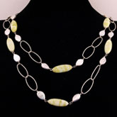 48 Inch Freshwater Pearl Necklace by IPEARL with White Drop Pearls & Lemon Jade