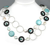 54 Inch Freshwater Pearl Necklace by IPEARL with 13mm White Coin Pearls & Turquoise