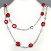 54 Inch Freshwater Pearl Necklace by IPEARL with 7-8mm White Keishi Pearl and Coral