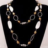 48 Inch Freshwater Pearl Necklace by IPEARL with Golden Pearl and Agate