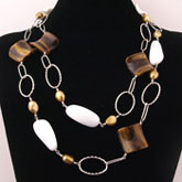 48 Inch Golden Freshwater Pearl Necklace by IPEARL with Tiger Eye & Agate