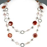 54 Inch Freshwater Pearl Necklace by IPEARL with Pink Keishi Pearls and Fire Crackle Agate