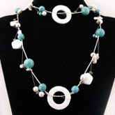 48 Inch Freshwater Pearl Necklace by IPEARL with White Pearl, Turquoise & White Porcelain