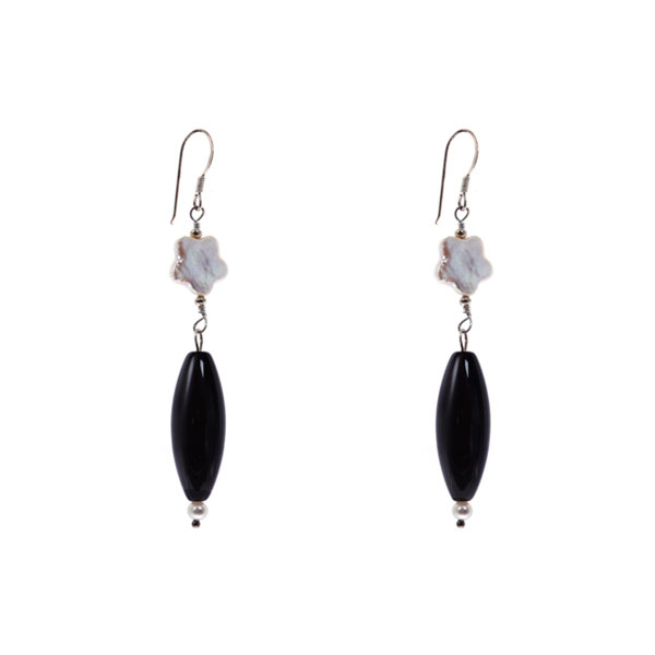 Sterling Silver Freshwater Pearl Earring by IPEARL with 9-10mm White Pearl, Black Agate