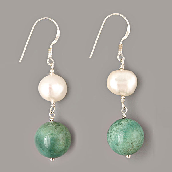 Sterling Silver Freshwater Pearl Earring by IPEARL with Rice White Pearl and Turquoise